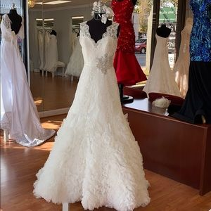 Ivory wedding gown with faux pearl, rhine cluster